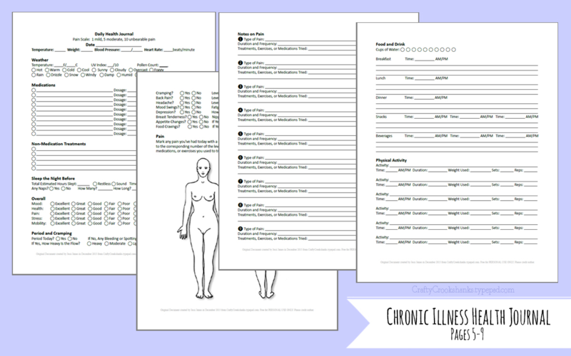 Crafty Crookshanks: Chronic Illness Health Journal, Preview of Pages 5-9